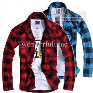 Online Cheap New Mens Fit Button Down Casual Slim Shirt Plaid ...