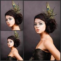 Wholesale Black Wedding Birdcage Veil - Sexy Black Tulle Wedding Veils 2015 Pattern Short Bridal Birdcage Hats Luxury Peacock Feather Bridal Veil