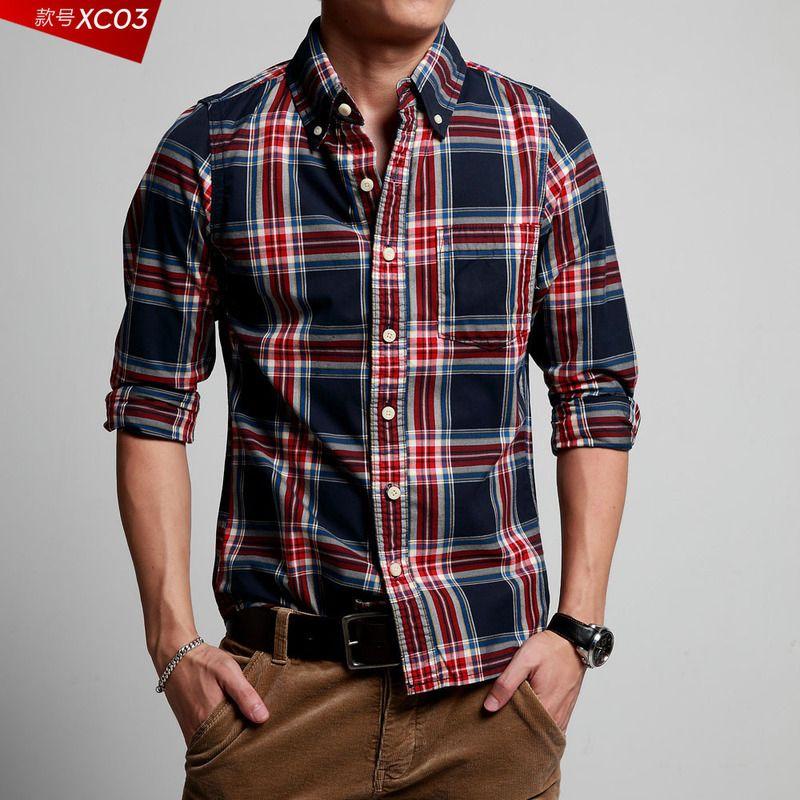 2017 ! 2013 Hot New Casual Long Sleeve Men's Shirts, Plaid Mixed ...