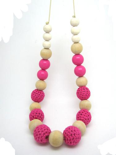 Wooden beaded crochet beads fushia wood nursing necklace NW494
