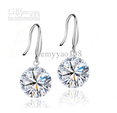 Wholesale High Quality Real Solid 925 Sterling Silver Drop Earrings With Cubic Zirconia 10pairs/lot SP0022