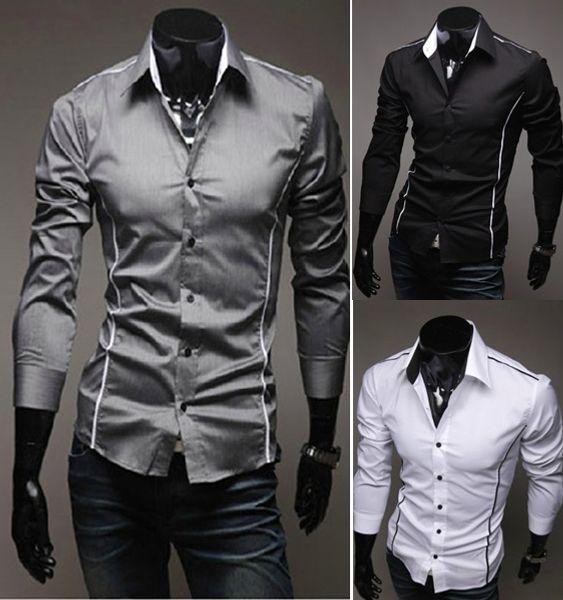 2017 Erkek Moda Lüks Şık Casual Tasarımcı Elbise Gömlek Kas Fit Gömlek 3 renkler 5 Boyutları