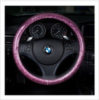 Wholesale Pink Car Wheel Cover - Fashion pink blue white steering wheel cover glitter car cover four seasons genera silver, green, blue, purple, gold, powder free shippin l
