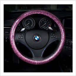 Wholesale Steer Cover - Fashion pink blue white steering wheel cover glitter car cover four seasons genera silver, green, blue, purple, gold, powder free shippin l
