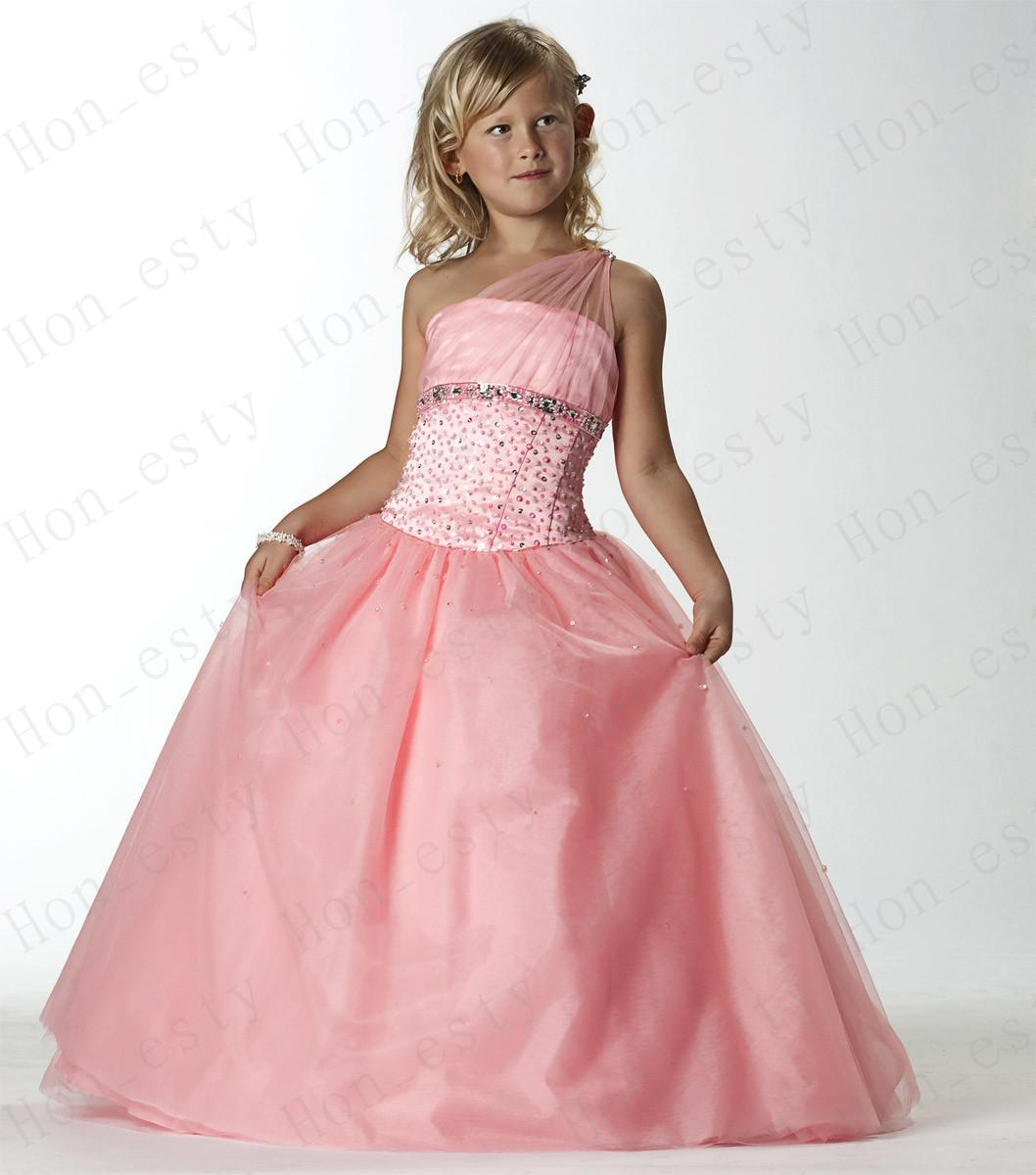 Pink New Flower Girls Dresses Tulle One Shoulder Zipper Floor ...