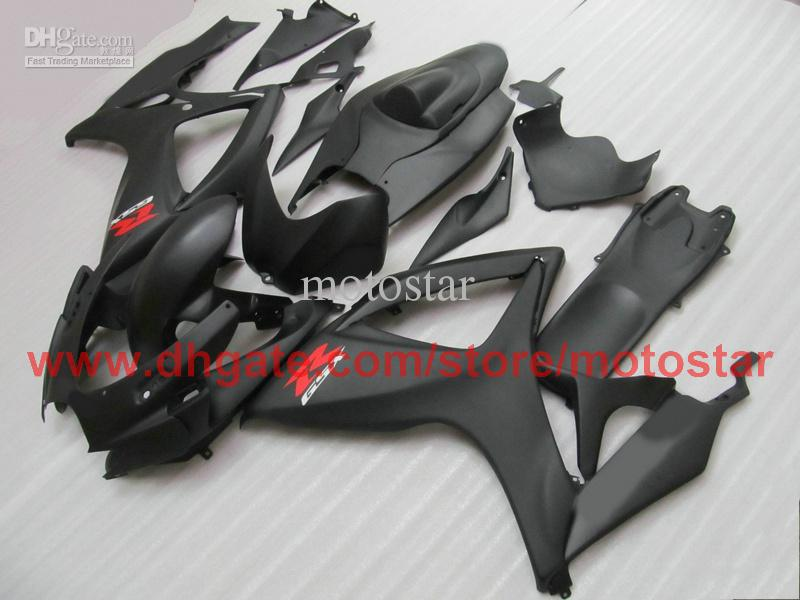 Injektion för Matte Black Suzuki GSXR 600 750 2006 2007 GSX-R600 GSX-R750 06 07 K6 Full Fairing Kit
