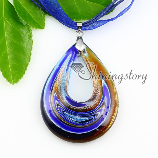 teardrop silver foil with lines glass pendants necklaces Cheap china jewelry fashion jewelry Mup1802YH