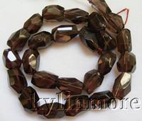 natürliche quarzperlen facettiert großhandel-8SE02871a 10x15mm Natürliche Rauchquarz Faceted Nugget Perlen 15,5 ''
