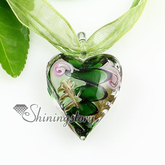pendenti in vetro soffiato a spirale con brillantini a forma di cuore Gioielli fatti a mano in vetro di murano con pendenti Mup1812YH2
