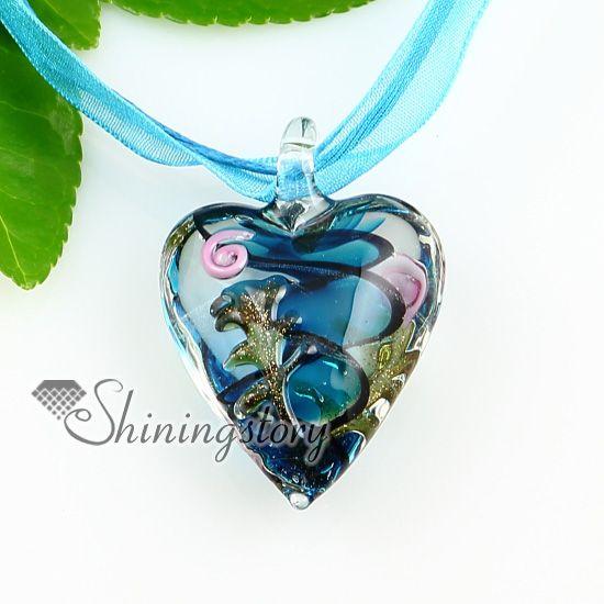 pendentifs en verre soufflé scintillant coeur pendentif bijoux faits à la main bijoux en verre de murano Mup1812YH2
