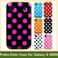 Wholesale Galaxy S Cases Dots - Wholesale Lovely Polka Dots Soft TPU Gel Cover Phone Case for Samsung Galaxy S i9000 I9001 10pcs lot Free Shipping