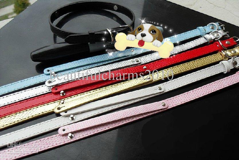 20 Teile / los 10 * 370mm Schlangenhaut Pu-leder Haustier Hundehalsband mit rutsche bar fit für 8mm diy diacharme