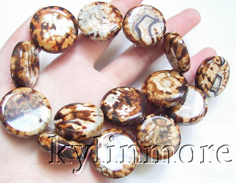 8SE06166a 25MM Agate Coin Beads 15''