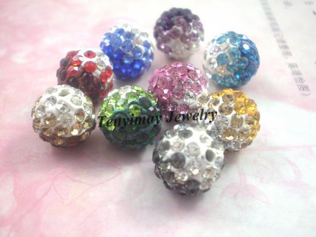 Contas de cristal solta bola de discoteca Micro Pave Beads 10 mm gradiente de cor 180 pçs / lote