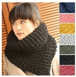 Muffler Neck Canada - Fashion Knitted Circle Scarves Women's Neck Warmer muffler scarf Neck scarf 10pcs lot #2834