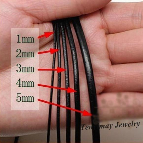 5 mm Noir Geguine Cordons en cuir pour collier bricolage Livraison gratuite 100 mètres gros