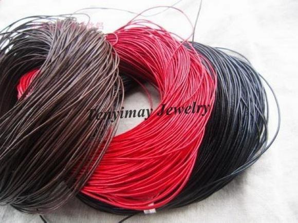 Collier en cuir véritable cordes 1mm corde en cuir rouge pour bricolage livraison gratuite 100M /