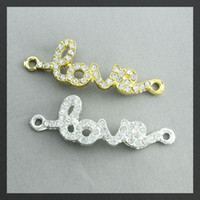 Wholesale Rhinestone Love Sideways Connector - 42x15mm mix color Crystal Rhinestones SideWays LOVE Connector Beads making Bracelet Jewelry findings