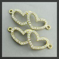 Wholesale Heart Connector Sideways - 20pcs gold Crystal Rhinestones Double Heart SideWays Bracelet Connector Charm Beads Jewelry findings