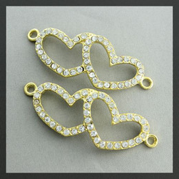 Wholesale Heart Connector Sideways - 20pcs gold Crystal Rhinestones Double Heart SideWays Bracelet Connector Charm Beads Jewelry findings
