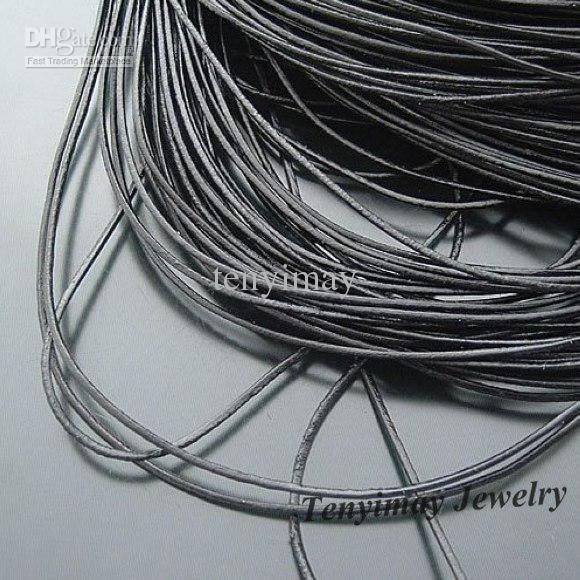 Collier en cuir véritable Cordons 1mm couleur noire pour bricolage livraison gratuite 100m /
