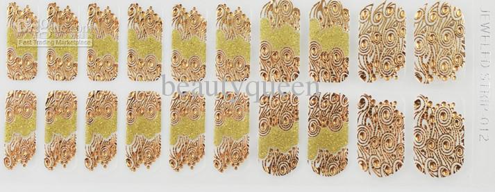 Haute qualité! Plus récent Nail Wrap Wraps Decal Jeweled Strips Brillant Cristal Stickers Vernis à ongles autocollant Foils Patch Conseils Patch 2014 NOUVEAU Appliqués