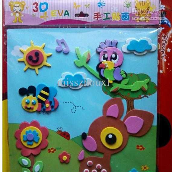 2018 Wholesale Kids Diy Craft Kits Eva 3d Sticker Ornament Animal