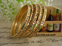 Wholesale Wholesale Gold Plated Initial Bracelets - NEW!Vintage Alloy Gold Plating Monogram Bangle Bracelets Initial Love Charm Cuff Bangle With Words For Couple Free shipping
