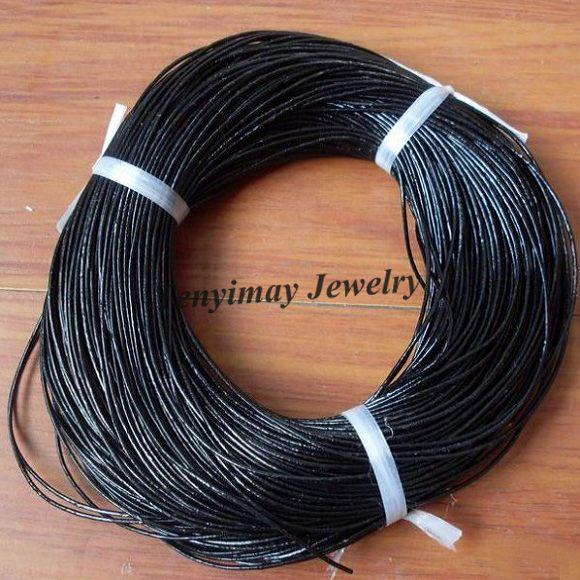 Véritable Cuir Cordons 1.5mm Couleur Noir Pour DIY En Gros 100 Mètres Livraison Gratuite