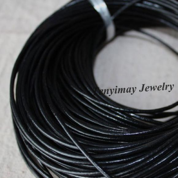 2 мм черный натуральная кожа ожерелье шнуры ювелирные изделия аксессуары Оптовая продажа 100 метров Бесплатная доставка