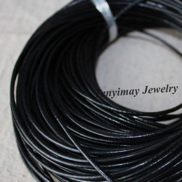 2mm noir en cuir véritable collier cordons accessoires de mode bijoux en gros 100 mètres livraison gratuite