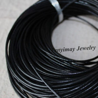 Wholesale Leather Meter Jewelry - 2mm Black Genuine Leather Necklace Cords Fashion Jewelry Accessory Wholesale 100 Meters Free Shipping