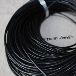 Argentina Cordones de collar de cuero genuino negro de 2 mm Accesorio de joyería de moda al por mayor 100 metros envío gratis Suministro