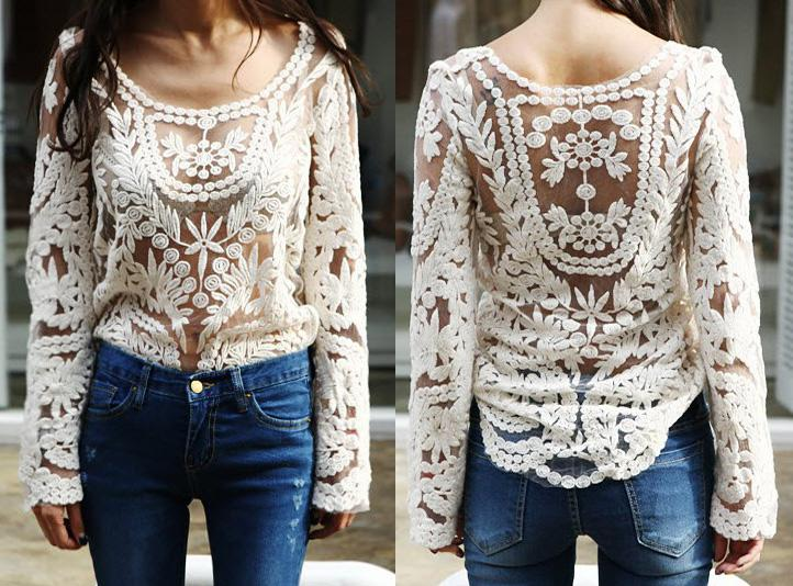 2013 New Fashion Women Lace Floral T Shirt Crochet Tops Shirt Sexy ...