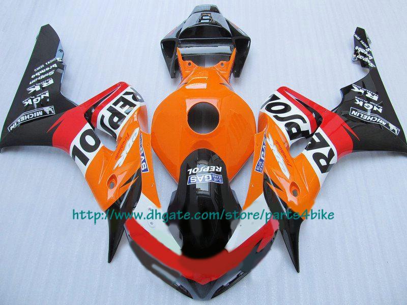 Carroçaria de injeção preta laranja vermelha para Honda CBR1000RR 2006 2007 CBR 1000RR 06 07 carenagens RX1b 1b
