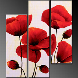 Wholesale Group Oil Paintings - Lovely Red Flower Art Oil Group Painting Home Decorative painting Completely Handmade Oil Paintings