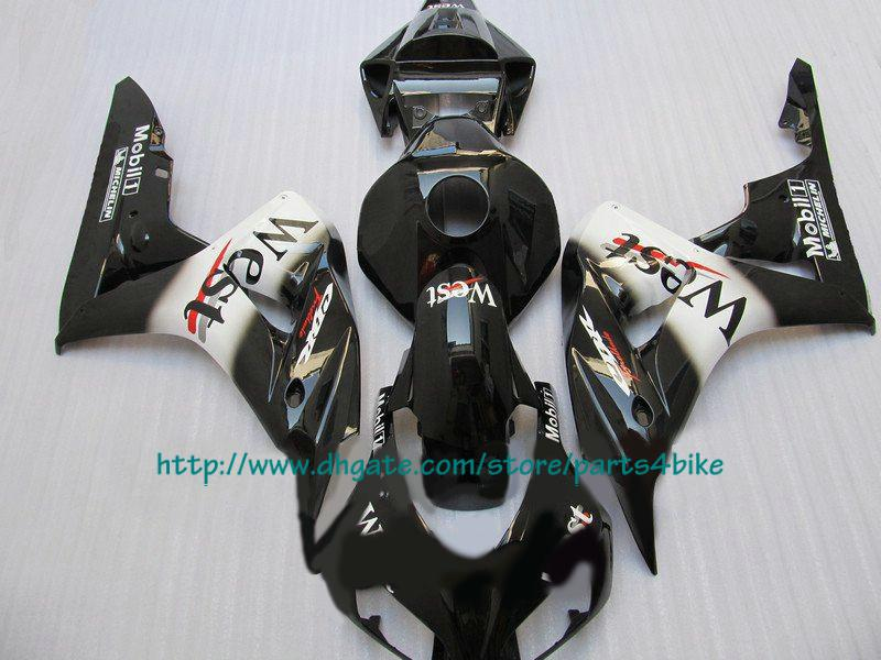 Hot slae west preto corpo de injeção para Honda CBR1000RR 2006 2007 CBR 1000RR 06 07 carenagens RX3b 3b
