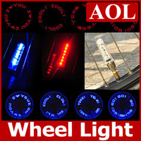 Wholesale neon lights wheels - 9 patterns 7leds Bike Bicycle car Motorcycle tire Spoke Wheel Valve LED Flash alarm Light Neon