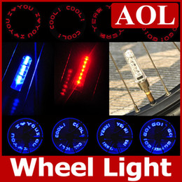 Wholesale Wholesale Car Tires - 9 patterns 7leds Bike Bicycle car Motorcycle tire Spoke Wheel Valve LED Flash alarm Light Neon