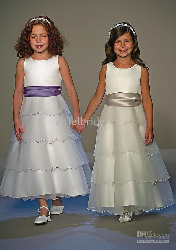 Flower Girl Dress Patterns 2013 A Line Ankle Length Layers Organza ...
