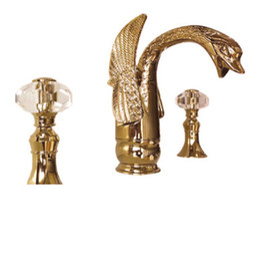 Wholesale swan sink faucets - Free shipping 3 PCS swan sink faucet widespread lavatory sink faucet Crystal handles faucet