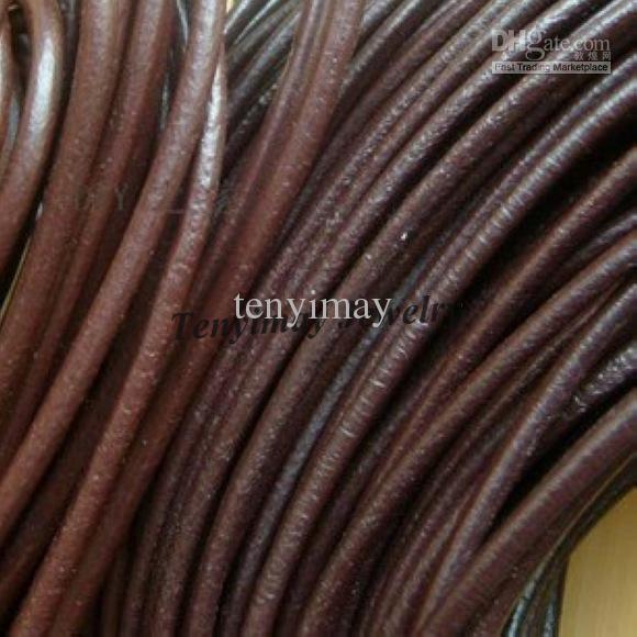 Corde En Cuir Véritable 4mm Brun Geguine En Cuir Collier Cordons Pour DIY 25 m / Livraison Gratuite