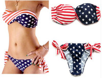 Wholesale Cheap Bandeau - 2017 Women's Bandeau Bikini Fashion American Flag Summer Swimwear & Beachwear Sexy Ladies Push Up Swimsuits Cheap Brazilian Bathing Suits