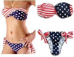 Wholesale Cheap Ladies Suiting - 2017 Women's Bandeau Bikini Fashion American Flag Summer Swimwear & Beachwear Sexy Ladies Push Up Swimsuits Cheap Brazilian Bathing Suits