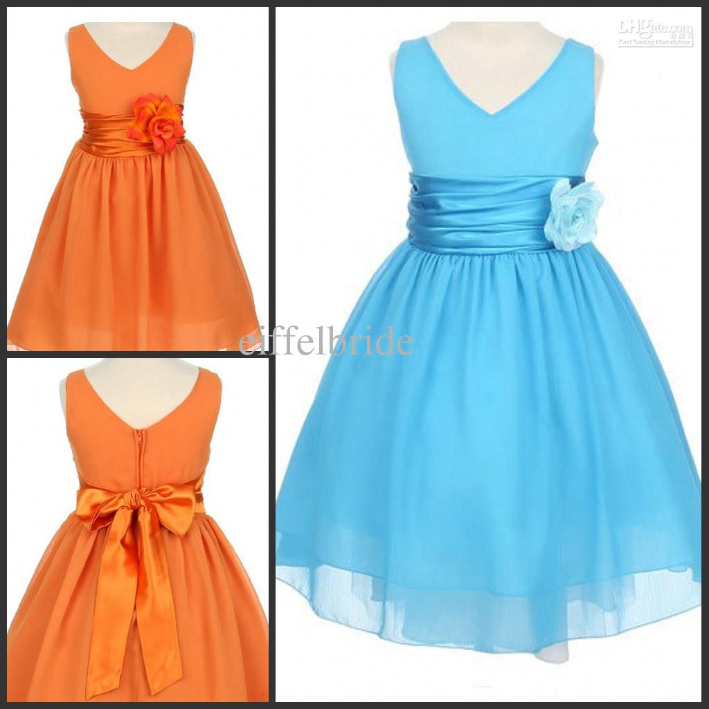 Empire Waist Flower Girl Dress Orange Chiffon A Line Sash Flowers ...