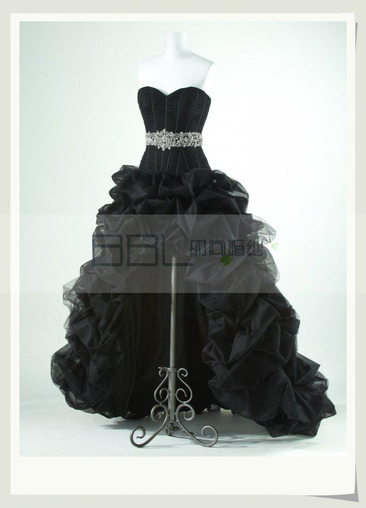 High Low High End Black Chapel Dress Belts Beaded Flash Diamond
