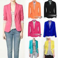 Wholesale Suit Blazer Colour Women - Wholesale - Celebrity Style Women Candy Coloured Boyfriend Blazer Suit Jacket