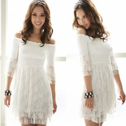 Wholesale Hot Night Club Clothes - Hot New thin waist Strapless hollow white lace dress Evening Short Dress Party Dress Women's Clothing 531