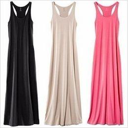 Wholesale Plain Maxi Dresses - New Solid Plain Women Lady Sleeveless Tank Full Length Long Maxi Dress Racerback Drop shipping