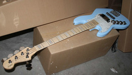 Wholesale Left Bass Body - Latest custom left-handed blue 5 string Electric bass guitar free shipping